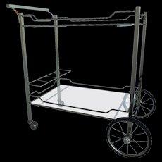 Sleek Italian Mid-Century Brass Bar Cart