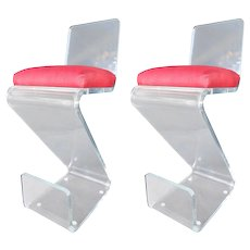 Pair of Vintage Lucite Bar Stools