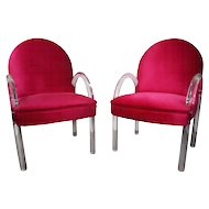 Pair of Waterfall Lucite Charles Hollis Jones Chairs