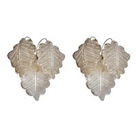 Charming Pair of Frosted Leaf Wall Sconces