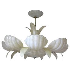 """Pair of Barovier and Toso Murano Glass """"Shells"""" Chandeliers"""