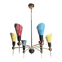Playful Mid-Century Modern Italian Chandelier