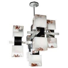 Pair of Stylized Mazzega Cubed Glass Chandeliers
