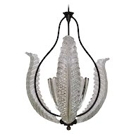 Barovier Glass Bell and Leaves Chandelier