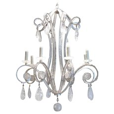 Silverleaf Iron and Rock Crystal Chandelier