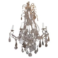 Medium Hand Carved Rock Crystal, Amethyst and Metal Chandelier