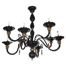 Fabulous Black and Gold Murano Chandelier