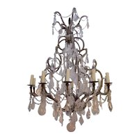 Twelve-Light Rock Crystal and Lead Crystal Chandelier