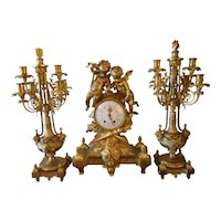French Bronze Clock Set with Two Figural Putti
