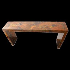 Mixed Metal Patchwork Brutalist Console In the Style of Paul Evans