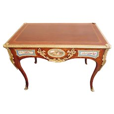 French Antique Table Sevres Style Mounted, Porcelain Inlaid with Ormolu