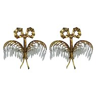 Pair of Bronze Palm Leaf Sconces by Josef Hoffmann and Bakalowits