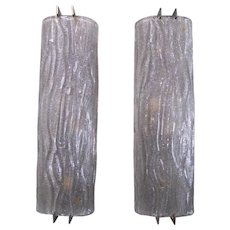 Set of Ten Mazzega Smoky Grey Curved Glass Sconces