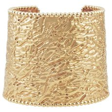 VAN CLEEF & ARPELS gold Perlee cuff bangle