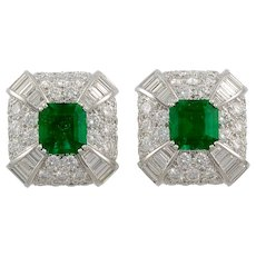 Pair of Emerald & Diamond Earrings by David Webb