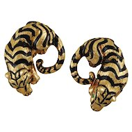 Tiger Ear Clips by David Webb