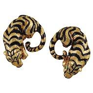 Tiger Ear Clips by David Webb