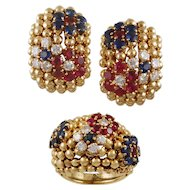 VAN CLEEF & ARPELS 'Bagatelle' Sapphire Ruby Diamond Gold Ring and Earrings