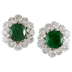 BVLGARI Diamond and Emerald Ear Clips
