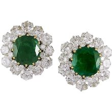 BVLGARI Diamond and Emerald Ear Clips