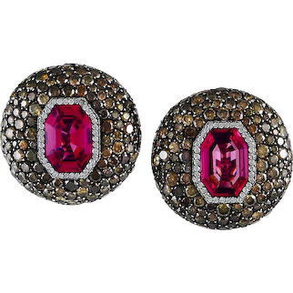 JAR Attractive Spinel and Diamond Ear Clips