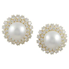 VAN CLEEF & ARPELS Diamond and Cultured Pearl Ear Clips