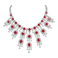 HARRY WINSTON Diamond and Burma Ruby Necklace