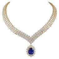 VAN CLEEF & ARPELS 3 Rows of Diamond Necklace and Brooch/Pendant