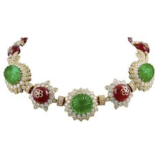 VAN CLEEF & ARPELS Carved Emerald, Ruby and Diamond Necklace-Bracelet Combination