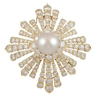 VAN CLEEF Diamond & Pearl Brooch part of Estee Lauder Collection