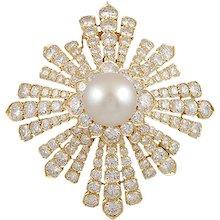 VAN CLEEF Diamond & Pearl Brooch part of Estee Lauder Collection