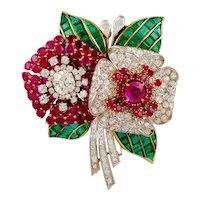 Art Deco Diamond,Ruby & Emerald Flower Brooch