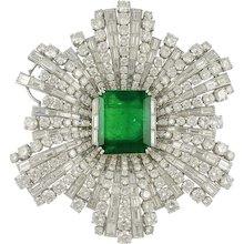 HARRY WINSTON Emerald and Diamond Brooch