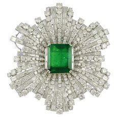 HARRY WINSTON Emerald and Diamond Brooch