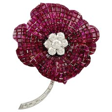 OSCAR HEYMAN Two Tone Invisible Set Ruby and Diamond Flower Brooch