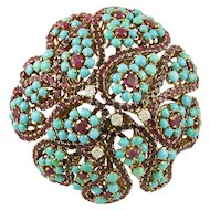 Cartier Diamond Ruby Turquoise Brooch