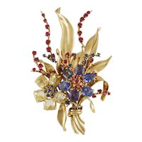 VAN CLEEF & ARPELS Retro Gem Set Gold Bouquet Brooch