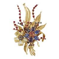 VAN CLEEF & ARPELS Retro Gem Set Gold Bouquet Brooch
