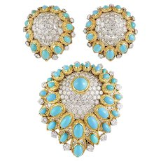 VAN CLEEF & ARPELS Diamond and Turquoise Demi-Perure Brooch & Earrings
