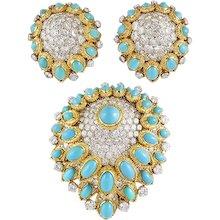 VAN CLEEF & ARPELS Diamond and Turquoise Demi-Perure Brooch & Earrings