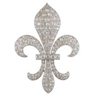 Antique Diamond Fluer de Lys Brooch