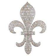 Antique Diamond Fluer de Lys Brooch