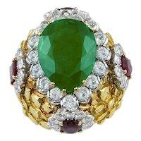 DAVID WEBB Pear Shaped Emerald, Diamond and Oval Rubies Ring