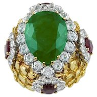 DAVID WEBB Pear Shaped Emerald, Diamond and Oval Rubies Ring