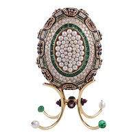 ASPREY Gold and Enamel Easter Egg on Stand