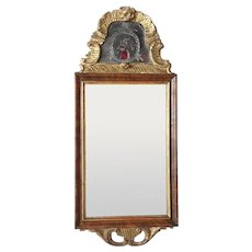 Small Scandinavian Rococo Parcel Gilt Walnut and Eglomise Mirror