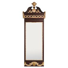 Danish Louis XVI Parcel Gilt Mahogany Framed Pier Mirror