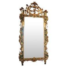 Important Italian Rococo Gilt and Painted Diamond Dust Mirror