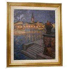 GUNNAR EMIL WEINBERG Oil on Canvas Painting, Copenhagen Harbor