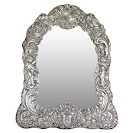 English Frederick Brasted Victorian Sterling Silver Dressing Table Mirror